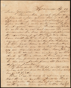 Letter from Samuel Joseph May, Syracuse, [N.Y.], to William Lloyd Garrison, Ap[ril] 20 1851