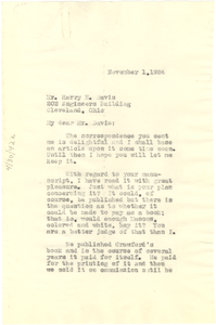 Letter from W. E. B. Du Bois to Harry E. Davis