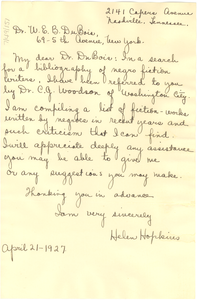 Letter from Helen Hopkins to W. E. B. Du Bois