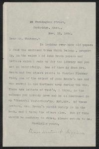 Thomas Wentworth Higginson typed letter signed to James Lyman Whitney, Cambridge, Mass., 18 November 1904