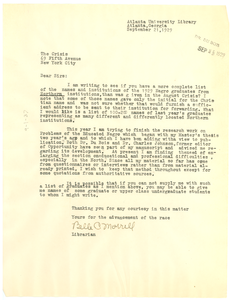 Letter from Belle C. Morrell to Crisis