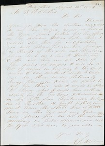 A. J. McElveen, Kingstree, S.C., autograph letter signed to Ziba B. Oakes, 14 August 1854