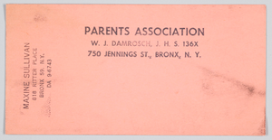 Document for the Parents Association of W. J. Damrosch Junior High School