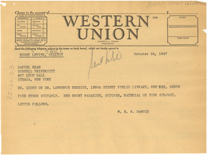 Telegram from W. E. B. Du Bois to NAACP Cornell Chapter