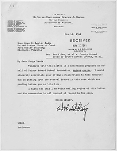 Memorandum of Prince Edward School Foundation, Amicus Curiae filed in Dorothy E. Davis, et al. versus County School Board of Prince Edward County, Virginia, Civil Action No. 1333.