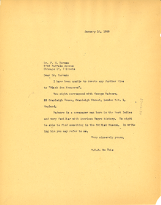 Letter from W. E. B. Du Bois to Dr. F. E. Norman