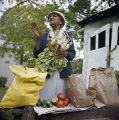 Hattie Dillard holding a bunch of turnips at her vegetable stand, probably in Birmingham, Alabama.