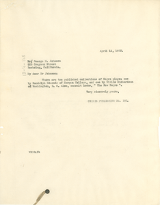 Letter from W. E. B. Du Bois to George M. Johnson