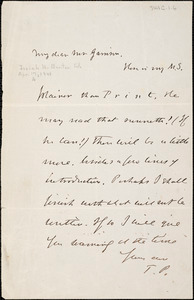 Letter from Theodore Parker to William Lloyd Garrison