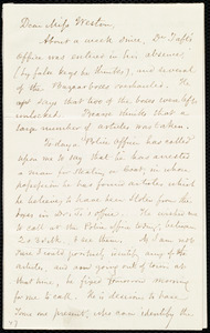 Letter from Samuel May, [Boston?, Mass.], to Miss Weston, Wednesday, March 10th, [1852?]