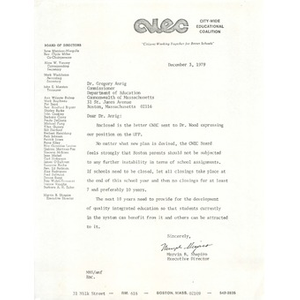 Letter, Dr. Gregory Anrig, December 3, 1979.