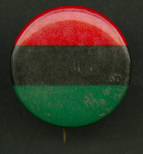 Pinback button of the Pan-African flag