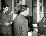 Humbert Howard, Julius Block, and E. Simms Campbell at a Pyramid Club Art Exhibition