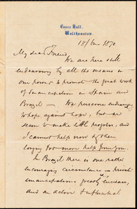 Letter from Joseph Cooper, Walthamstow, [England], to William Lloyd Garrison, 18 / [June] 1870