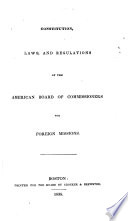 Thumbnail for Constitution, laws and regulations of the American Board of Commissioners for Foreign Missions