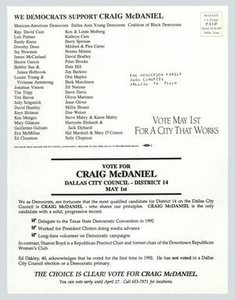 Letter: We Democrats support Craig McDaniel Municipal Elections, 1993