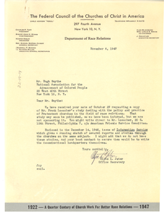 Letter from Federal Council of the Churches of Christ in America to Hugh H. Smythe