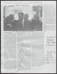 Clipping: African American Leaders Demand MLK Holiday