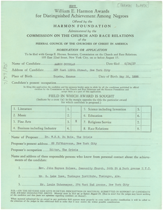 William E. Harmon Awards for distinguished achievement among Negroes application or nomination