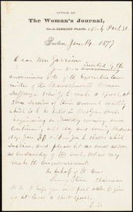 Letter from Lucy Stone, Boston, [Mass.], to William Lloyd Garrison, Jan[uary] 14 1877