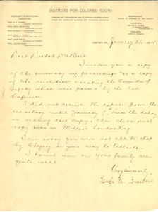 Letter from Hugh M. Browne to W. E. B. Du Bois