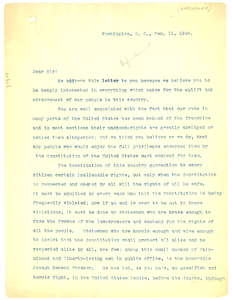 Thumbnail for Circular Letter from Niagara Movement to African American politicians