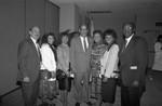 Black Enterprise Magazine luncheon participants posing together, Los Angeles, 1987