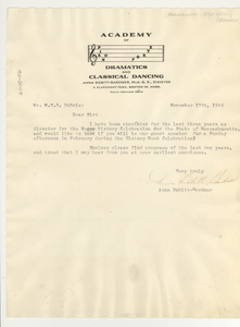 Letter from Academy of Pianoforte and Dramatics to W. E. B. Du Bois