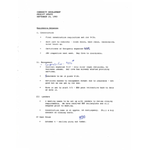 Community development: Project update Sepetember 23, 1993