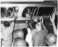 Bus departing for March on Washington for Freedom and Jobs, Hartford, August 28, 1963