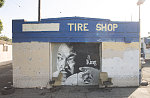 """MLK Jr. mural, Ocean Tires #2, Colden Avenue at Avalon Boulevard, Los Angeles, 2013. A man told me: """"I'll move the chairs, let me move the chairs, I don't like the chairs."""""""