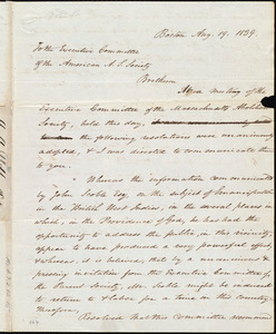 Letter from Amos Augustus Phelps, Boston, to Henry Brewster Stanton, Aug. 19. 1839