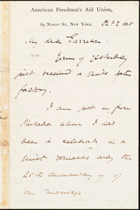 Letter from James Miller M'Kim, New York, [N.Y.], to William Lloyd Garrison, Oct[ober] 2 1865