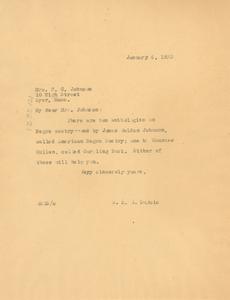 Letter from W. E. B. Du Bois to Mrs. F. C. Johnson