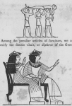 Representation of three men carrying an intoxicated man; representation of the master and mistress of the house sitting in a double chair