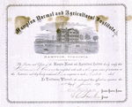 Diploma awarded to William A.Yancey by Hampton Normal and Agricultural Institute, June 12, 1873