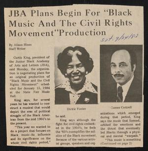 """Clipping: JBA Plans Begin For """"Black Music And The Civil Rights Movement"""" Production Black Music and the Civil Rights Movement Concert - Project"""