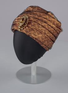 Rust satin and black lace turban from Mae's Millinery Shop