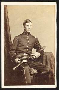 [Major Oliver Wendell Holmes, Jr., of Co. A and Co. G, 20th Massachusetts Infantry Regiment in uniform with sword]
