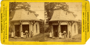 Stereograph of a group of people in front of an Aetna Mineral Springs building entrance, location unknown, ca. 1885
