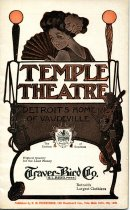 """Program booklet for a vaudeville performance at the Temple Theatre the week of August 14, 1911; program features a list of acts that will be performing as well as a number of advertisements; front cover features a color illustration of a young woman with a bow in her hair holding a fan looking back at the viewer as well as that of a minstrel playing a lute; at center """"Temple Theatre, Detroit's Home of Vaudeville""""; advertisement for Traver-Bird Co"""