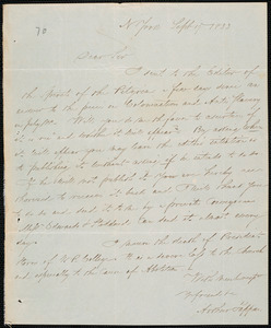 Letter from Arthur Tappan, N York, to Amos Augustus Phelps, Sept 19 1833