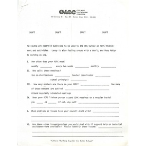 Possible questions for OBS survey on racial ethnic parent councils.