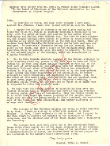 Extract of letter from Neval H. Thomas to the Board of Directors of the NAACP