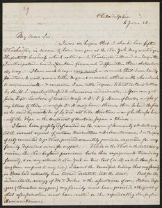 Hugh Forbes autograph letter signed to Thomas Wentworth Higginson, Philadelphia, 6 June [18]58