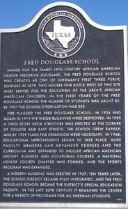 Texas Historical Commission Marker: Fred Douglass School