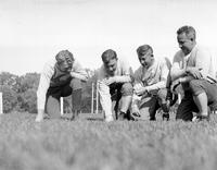 Colleges; Michigan State; Football; Coaches; Glenn Carberry (Portrait Carberry With Frank Leahy; Jim Crowley; & Miles Casteel.