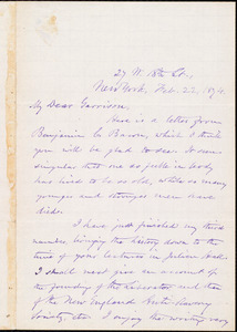Letter from Oliver Johnson, New York, [N.Y.], to William Lloyd Garrison, Feb[ruary] 22, 1874