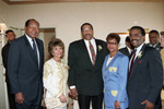 Tom Bradley and Willie and Evelina Williams posing with others, Los Angeles, 1992