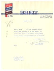 Letter from Negro Digest to Hugh H. Smythe